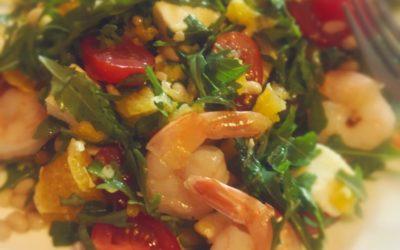 Salată de creveți cu rucola și mozzarella
